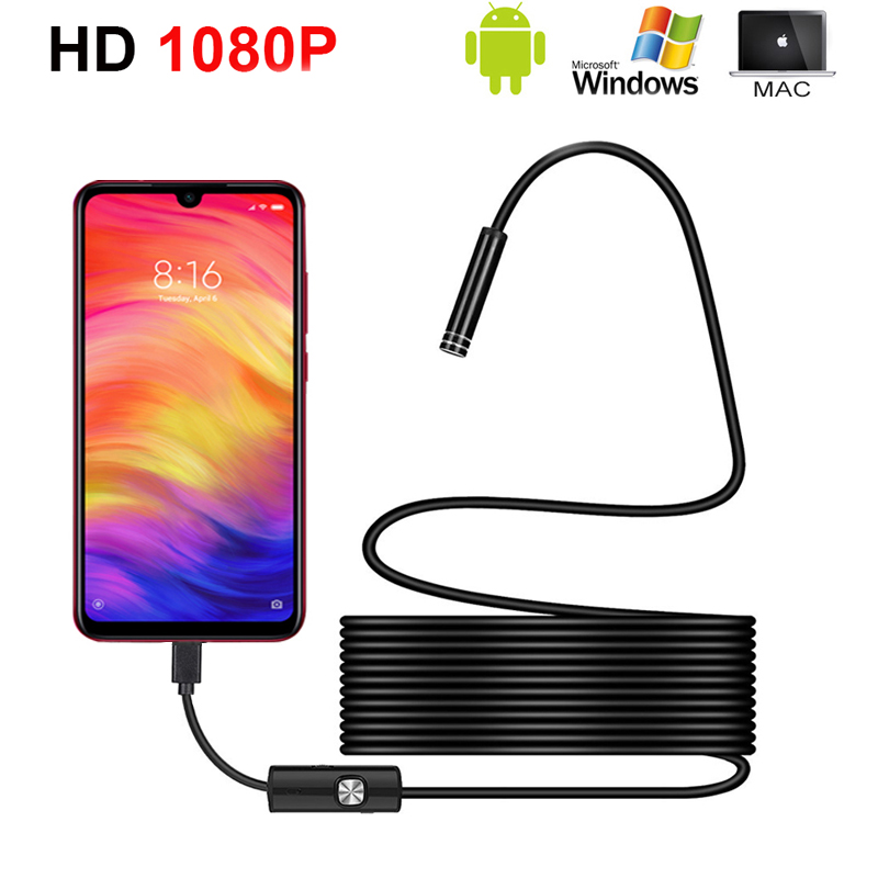 2m 3m 5m 1080p HD Endoscope Camera Flexible IP67 Waterproof Inspection Borescope Camera for Android PC Notebook 8LEDs Adjustable image