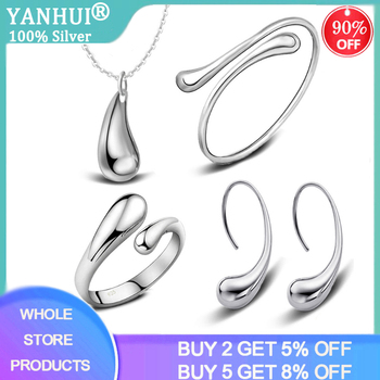 YANHUI Water Drop Jewelry Sets 100% 925 Sterling Silver Necklace Earring Ring Bangle Wedding Jewelry For Women Wedding Party Set water drop wedding jewelry sets bride silver color jewelry accessories bracelet necklace set for women dropshipping