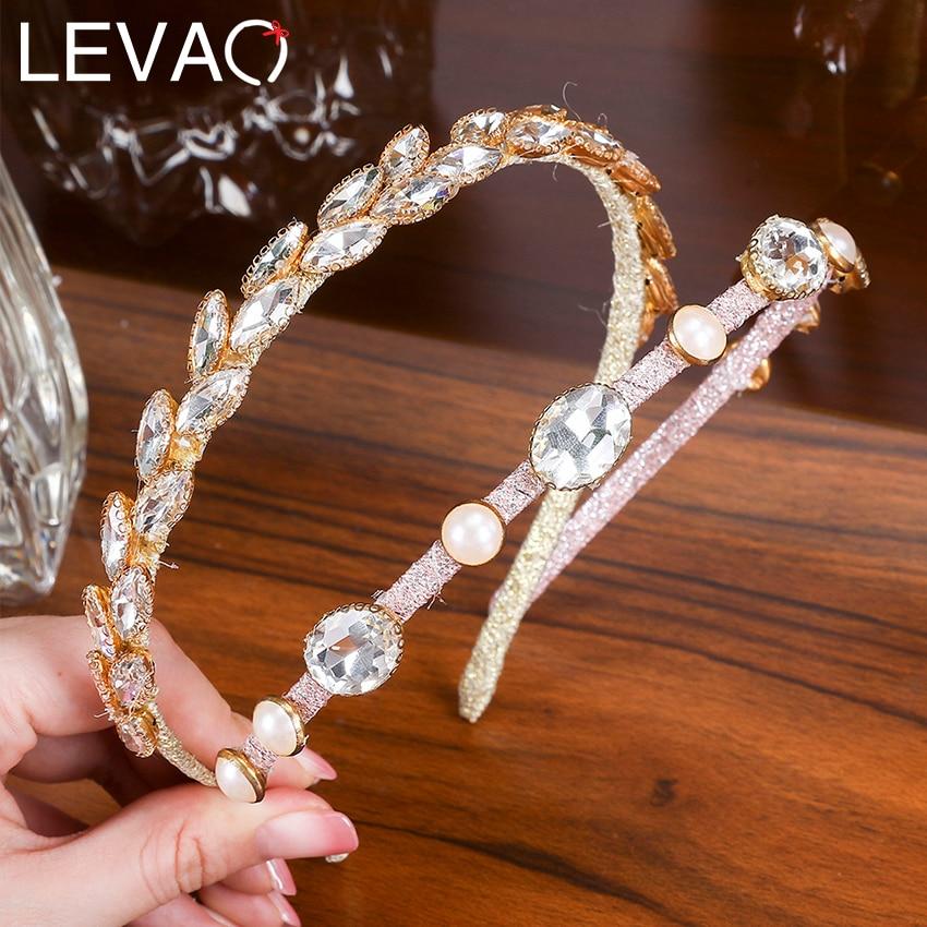 Levao Metal Oversize Rhinestone Hairband Shiny Crystal Leaf Headband Pearl Hair Bands For Women Hair Hoop Bezel Headdress