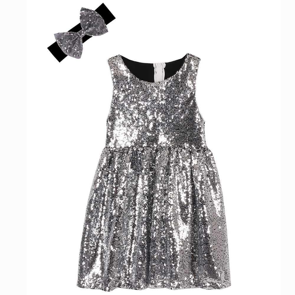 GIRLS VINTAGE BLACK EMBROIDERED SPARKLY SEQUIN SILVER PATTERN DANCE PARTY DRESS