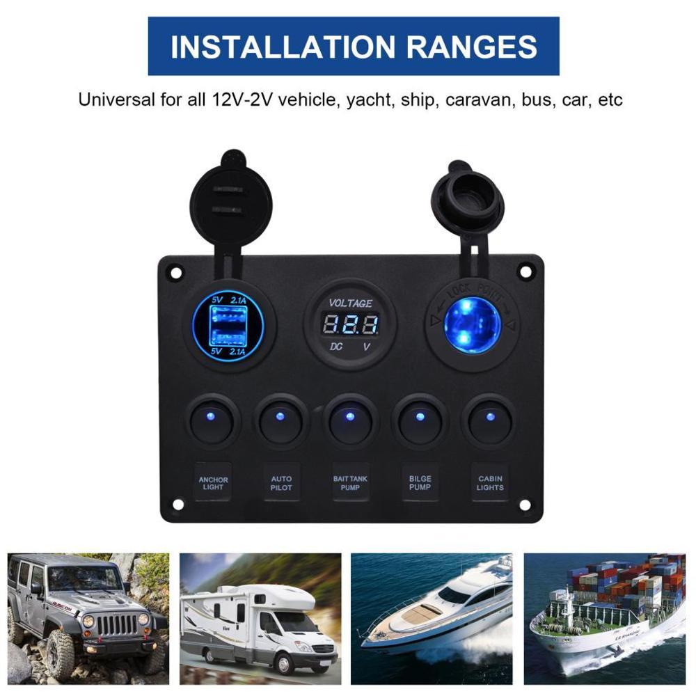 5 Gang LED Rocker Switch Panel Circuit Breakers 12/24V For Car Boat Marine Steamship Yacht RV Camper Truck Trailer IP65 Dual USB
