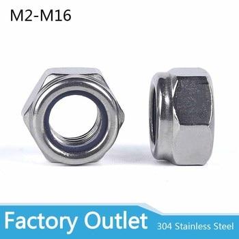 50pcs304 Stainless Steel Hex Hexagon Nylon Insert Lock Nut Self locking Nylock Nut Locknut  M2 M2.5 M3 M4 M5 M6 M8 M10 M12 M16 metric thread din934 m2 m2 5 m3 m4 m5 m6 m8 m10 m12 black grade 8 8 carbon steel hex nut hexagon nut screw nut a2 brand new