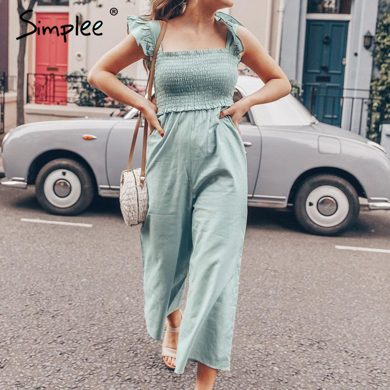 Simplee Elegant Ruffle Pleated Women Jumpsuit Casual Straps Female Wide Leg Jumpsuits Romper Spring Summer Ladies Overalls 2020