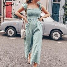 Simplee macacão elegante plissado feminino, de tiras casuais, perna larga, para primavera, verão, 2020