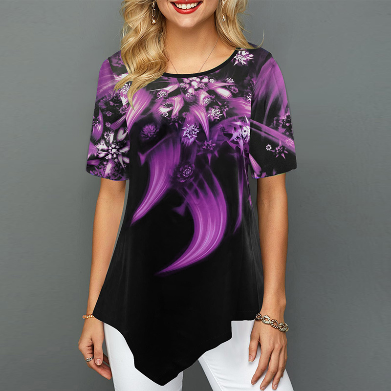 Plus Size 5XL Printed Women's Tunics Blouse Summer Short Sleeve Irregular Hem Female Tops 2020 Spring Casual Loose Lady Blouses