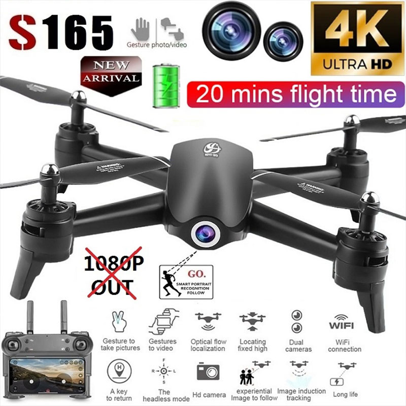 S165 4K Drone optical flow positioning dual camera intelligent follow RC helicopter HD aerial camera quadcopter 1080p drone 4k image