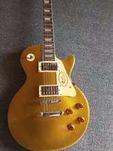 Guitarra eléctrica de alta calidad, parte superior dorada, hardware plateado, envío gratis, 2021