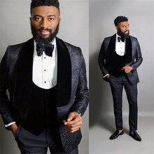 Tuxedo Wedding-Suits Blazer Party-Suit Mens Terno Black Formal Groom 3-Piece Jacquard