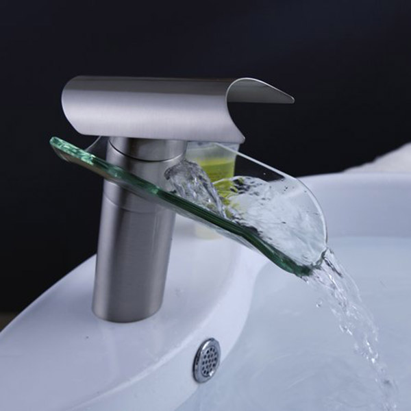 Hot Sale One Handle Glass Waterfall Bathroom Kitchen Sink Round Basin Faucet Single Lever Mixer Tap
