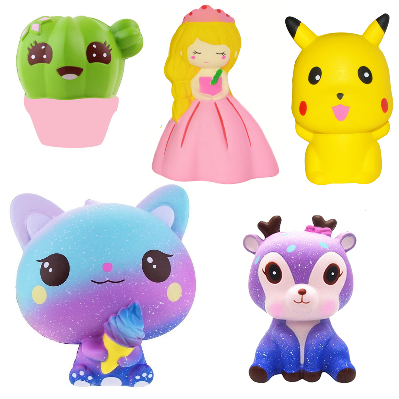 Kawaii Squishy Cute Soft Cat Cactus Deer Princess  Hamburge Wholesale Slow Rising Stress Relief Squeeze Toys For Kids Gift