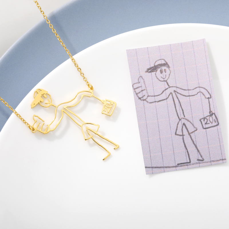 Customized Children's Drawing Necklace Kid's Child Artwork Personalized Custom Photo Pendant Necklace Jewelry Christmas Gift