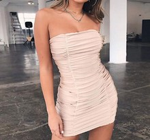 2019 Fashion Women Strapless Sexy Dress Bandage Solid Mini Club Summer Pleats Party