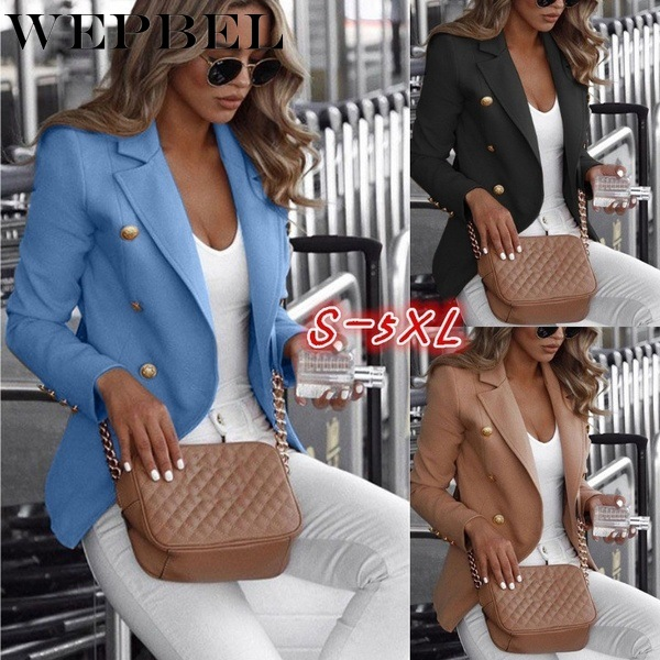 WEPBEL Blazer Autumn and Winter Casual V-neck Blazer Women's Fashion Solid Color Slim-Fit Double Breasted Jacket