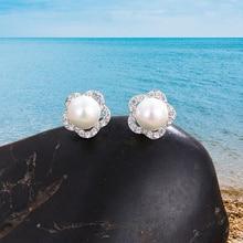 New fashion geometric zirconia fancy crystal flower pearl earrings womens girls jewelry Valentines Day gift Hot sale