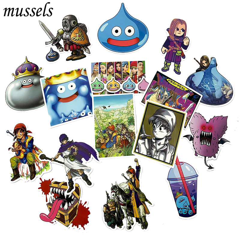 17Pcs Classic Game Dragon Quest Sticker Scrapbooking For Skateboard Guitar Motorcycle Luggage Notebook Computer Nagel Stickers