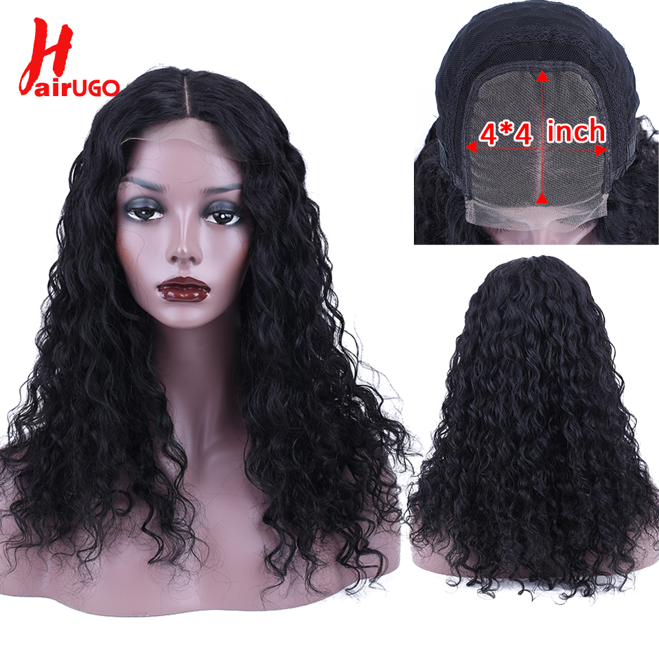 HairUGo Hair Lace Closure Human Hair Wigs Deep Wave Brazilian Remy Hair 4*4 Lace Closure Wig 100%Human Hair Wigs For Black Women