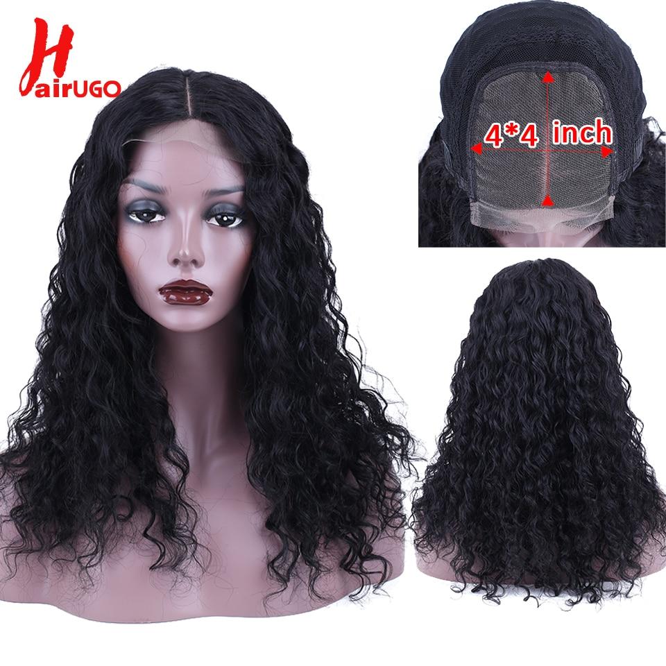 HairUGo Hair Lace Closure Human Hair Wigs Deep Wave Brazilian Remy Hair 4*4 Lace Closure Wig 100%Human Hair Wigs For Black Women