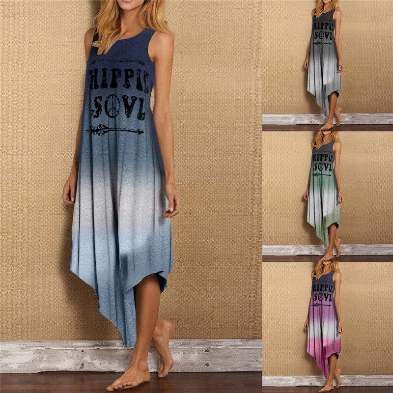 Summer Woman Letter Print Long Dress Casual Plus Size Sleeveless Vest Sundress Loose Irregular Gradient Color Long Maxi Dress