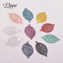 Abalorio de hoja de latón con estampado pequeño, accesorios de joyería, hojas, AC10464, 11x19mm, 100 Uds.