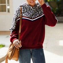 New  Autumn Womens Casual Sweatshirt Coat Winter Ladies Mosaic Leopard Long Sleeve Loose Tops Hoodie Fashion
