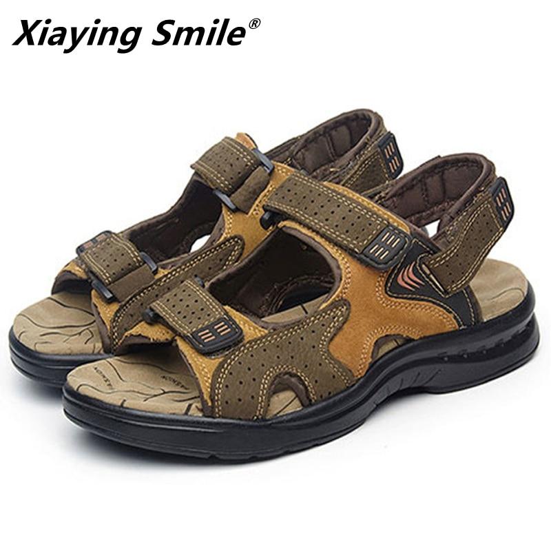 Mens Sandals Genuine Leather Sandals Summer 2019 New Beach Men Casual Shoes Outdoor Sandals Mens Shoes Designer Plus Size 38-46