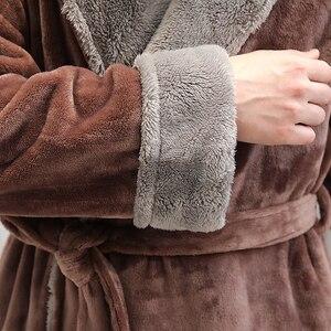 Image 5 - Peignoir en flanelle pour hommes, grande taille, tenue de bain en molleton de corail chaud, tenue de nuit en fourrure, vêtements de nuit pour femmes