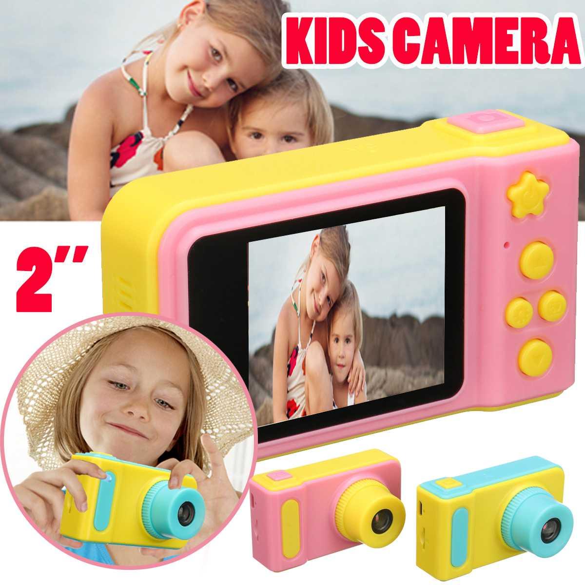 2 Inch IPS HD Screen Digital Mini Camera Dual Lens Kids Cartoon Camera Toys Outdoor Photography Props Child Birthday Gift