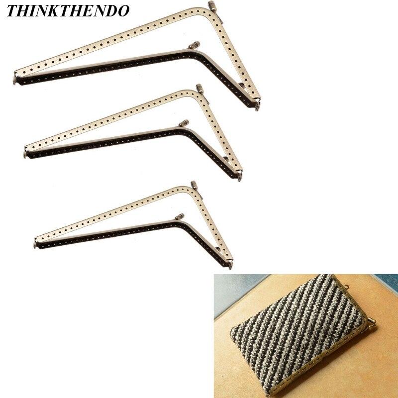 1Pc DIY Purse Handbag Handle Coins Bags L Shape Metal Kiss Clasp Lock Frame  Bag Parts Accessories