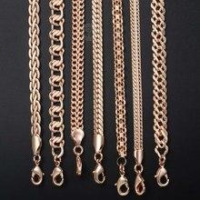 Fanshion 585 rosa colar de ouro curb tecelagem corda caracol link frisado corrente para homens feminino clássico jóias presentes venda quente cnn1b