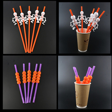 5Pcs/lot Halloween Pumpkin Straw Ghost Straws Decoration Party Supplies Home-S Decorations