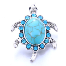 2019 New Snap Jewelry Big Crystal Tortoise Metal Snap Button Fit 18mm Snap Button Bracelet Bangles DIY Buttons Jewelry 6pcs lot 2019 new snap jewelry mixed colorful rhinestone crystal 18mm snap button jewelry fit snap bracelet diy charms jewelry