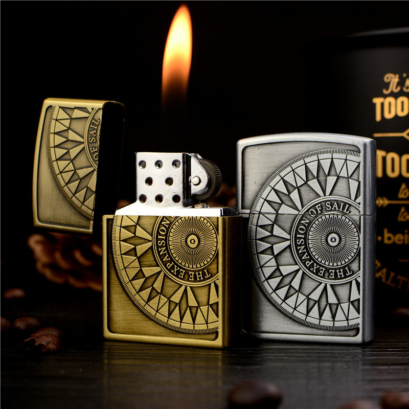 Embossed Nautical Compass Metal Gas Creative High-end Gift Grinding Wheel Open Flame Inflatable Lighter Cigarette Accessories