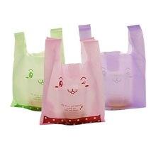 Sacs en plastique pour supermarché, 100 pièces/lot, nouveau matériel, sacs gilet, sacs cadeaux cosmétiques, sac d'emballage alimentaire