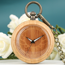 Exquisite Elk Head Bamboo Pocket Watches for Female Classic Engraved Dial Necklace Men Rough Chain Pendant Watches zakhorlo nature bamboo case quartz pocket watches delicate carving dial alloy pendant chain gift for unisex
