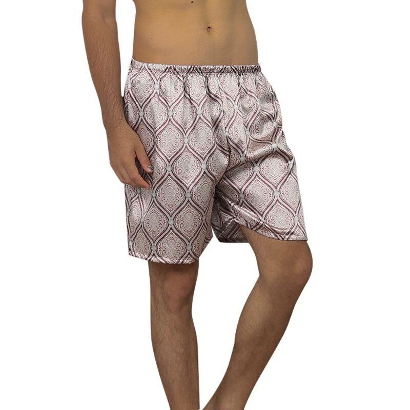 2019 Mens Casual Loose Satin Silk Printed Pajama Shorts Summer Sleepwear Soft Boxer Underwear Sexy Nightwear Underpants Homewear