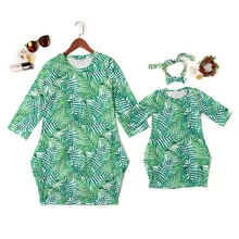 Mother Daughter Dresses Fashion Green Leaf Print Sundress With Headband Mommy and Me Clothes Mom and Daughter Dress Family Look family look clothes brand european black rose pleated a shape sleeveless skirts women midi sundress mother and daughter dresses