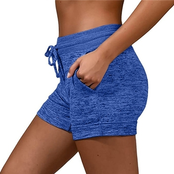 Women´s Shorts Ladies Summer Casual Females Sports Shorts Lace-up Run Bike Loose Pockets Solid Shorts Hot Fitness Gym Wear Running & Yoga Sports & Entertainment Sports and Outdoor Women Sportswear Yoga Pants Yoga Shorts Color: Blue Size: XXL