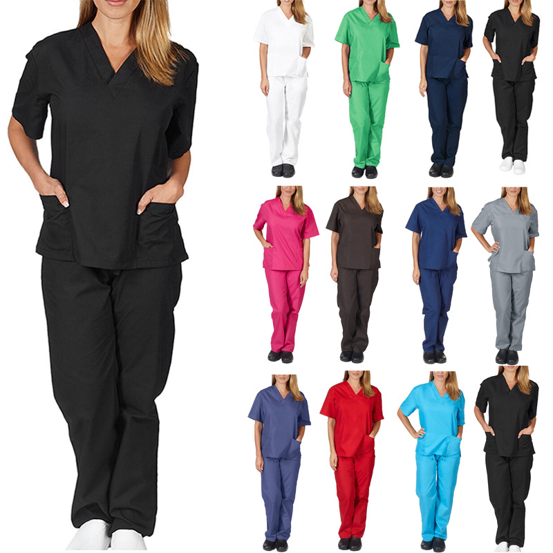 V-neck Nurse Clothes Women Pure Color Hospital Pocket Decorate Breathable Short Sleeve Spring Summer High Quality Nurse Clothes