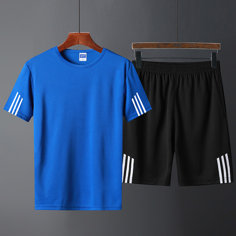 Men And Women Celebrity Style Sports Set Summer Wicking Breathable Short Sleeve Round Collar T-shirt Three Bars Casual Shorts Co