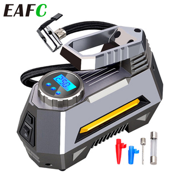 Portable Air Compressor Tire Inflator - Car Tire Pump With Digital Pressure Gauge (150 Psi 12V DC) Bright Emergency Flashlight
