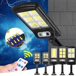 Lâmpada de luz solar ao ar livre luces poderosos led pir sensor de movimento ip65 ao ar livre à prova dwaterproof água luz rua jardim lâmpada de parede com controle remoto