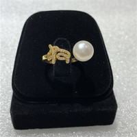 JYX Dog Chinese Zodiac Signs Pearl Ring 12 symbolic animals Rings 9.5 10mm AAA natural pearl adjustable style