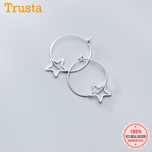 Trustdavis Genuine 925 Sterling Silver Cute Sweet Hollow Star Charm Hoop Earrings For Women Sterling Silver Jewelry Gift DS1875