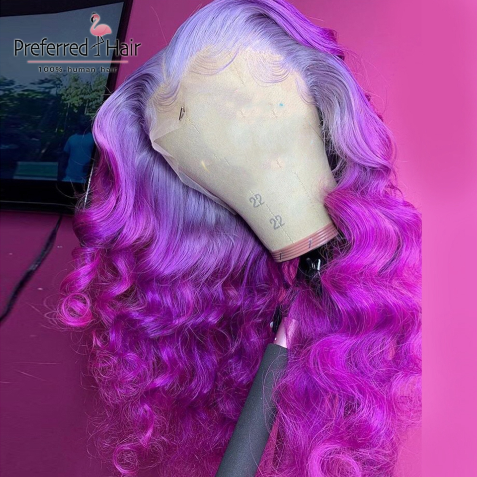 Preferred Purple Human Hair Wig With Baby Hair Remy Brazilian Ombre Lace Front Wig Preplucked Transparent Lace Wigs For Women