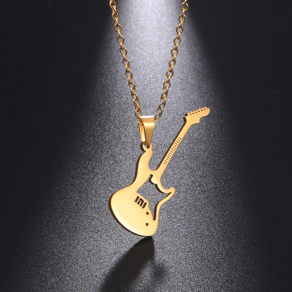 Fishhook Music Guitar Musical Microphone Drum Rock Pop Singer Necklace Rose Gold Color Stainless Steel Gift For Woman Jewelry