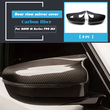 Replacement Style Carbon Fiber Mirror Cover Full Caps For BMW M Series F90 M5 Sedan 2018 2019 - UP Only fit LHD