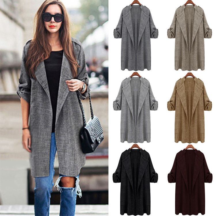 Long Trench Coat Women Spring Autumn Simple Cardigan Coats Solid Color Plus Size Loose Casual OPen Stitch Ladies Ropa Mujer 5XL