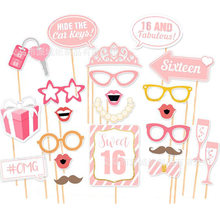 Doce 16th aniversário foto estande adereços doce 16 balões decorações rosa menina aniversário foto adereços pt37