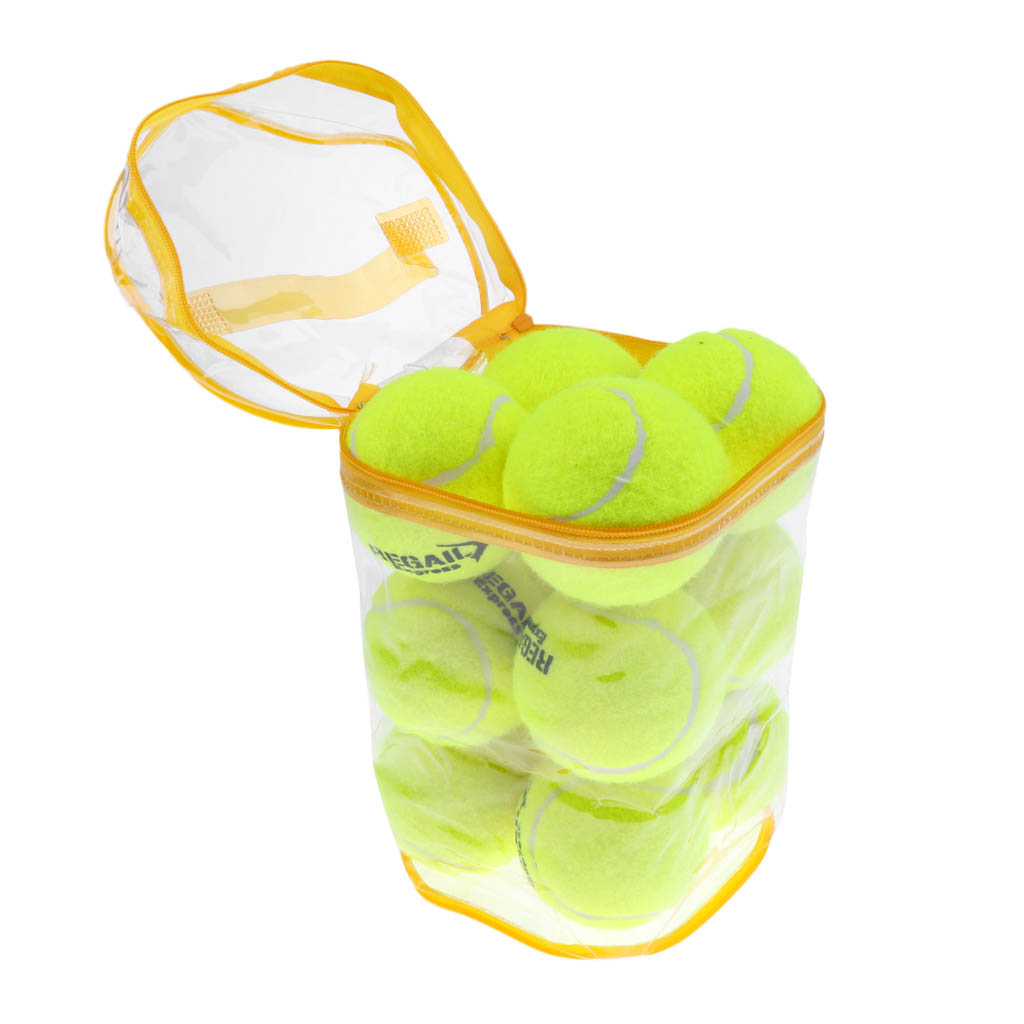 12 Pieces High Elasticity Advanced Training Tennis Balls With Storage Bag Dog Toy Game Balls Great Bounce