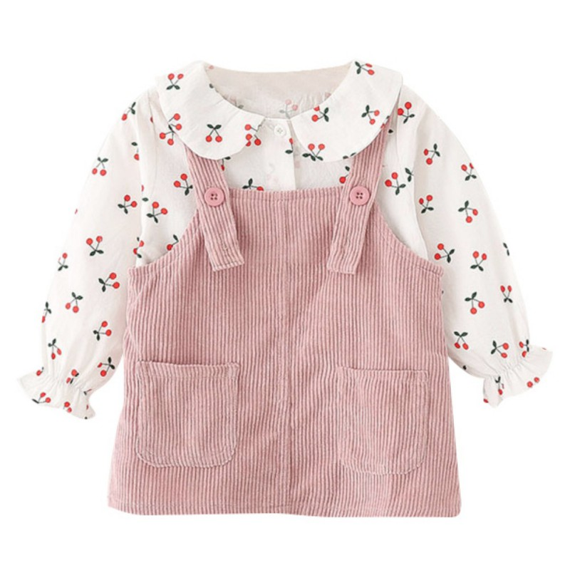 Children Summer Cartoon Cherry Printed Long Sleeve T-shirt Round Collar Casual Tops+<font><b>Bib</b></font> <font><b>Skirt</b></font> image